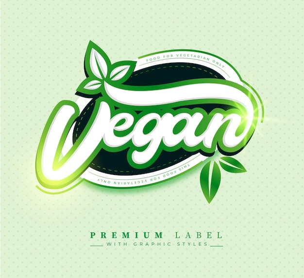 Premium vegan food label sticker badge