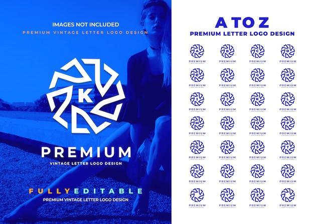 Premium vintage a tot z letter logo-ontwerp voor alle bedrijven