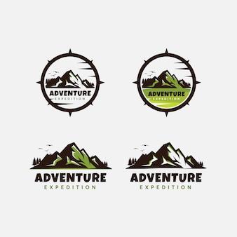 Premium vintage berg avontuur logo ontwerpsjabloon
