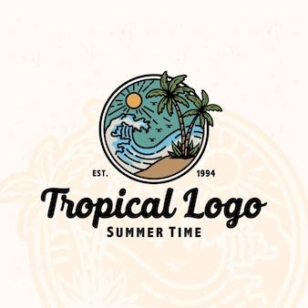 Premium vintage logo mono lijn tropische zomer golf palmboom natuur