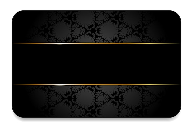 Premium visitekaartje in zwart met gouden elementen en ornamenten zwarte zakelijke vip-kaart