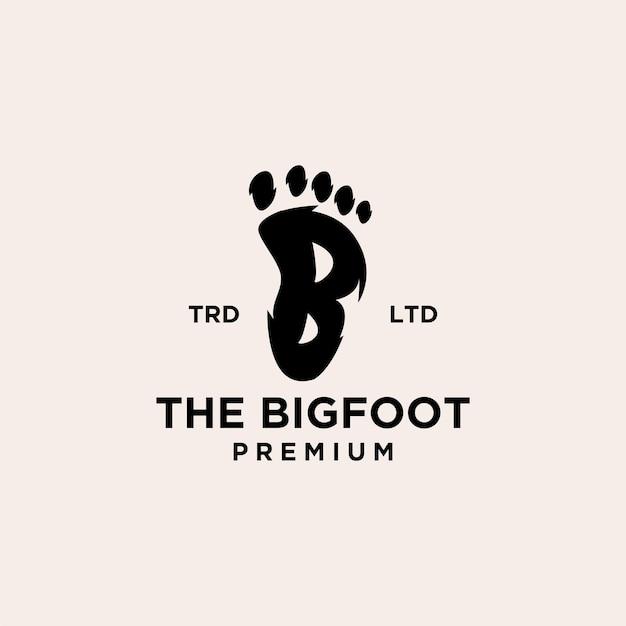 Premium voetafdruk van yeti met eerste letter b vector zwart logo pictogram ontwerp