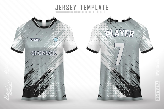 Premium voetbalshirt sjabloon met abstracte textuur