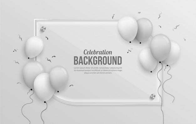 Premium zilveren ballon achtergrond voor verjaardag, afstuderen, feest en vakantie