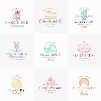 Premium zoetwaren abstracte tekens symbolen of logo sjablonen collectie handgetekende ijs donut...