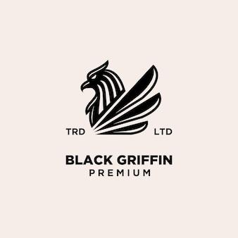 Premium zwart griffin mythisch wezen vector design logo