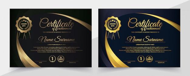 Premium zwarte certificaatsjabloon