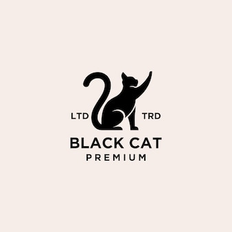 Premium zwarte kat logo vector pictogram illustratie ontwerp