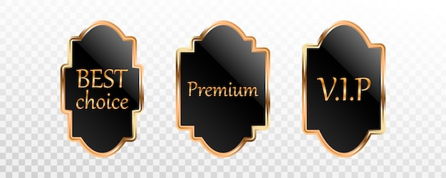 Premium zwartgouden label, badge of tagcollectie