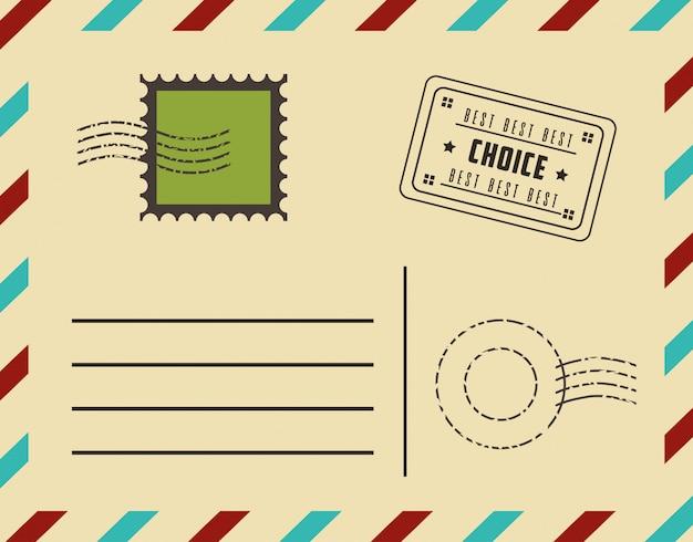 Premiumkwaliteit ansichtkaart met postzegels