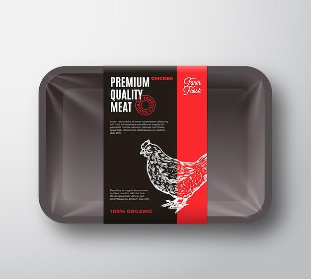 Premiumkwaliteit kippenvleespakket en labelstreep.