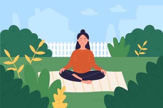 Prenatale yoga, cartoon zwangere vrouw die zorgt voor mentale of fysieke gezondheid, yoga doet in de tuin