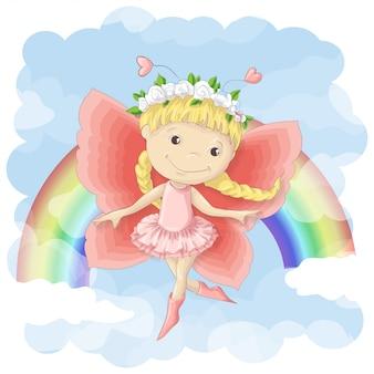 Prentbriefkaar van een leuke kleine fee op de achtergrond van regenboog en wolken.