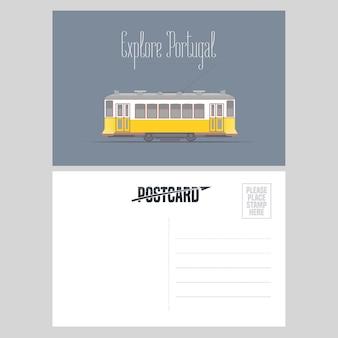 Prentbriefkaar van portugal met de tram vectorillustratie van lissabon