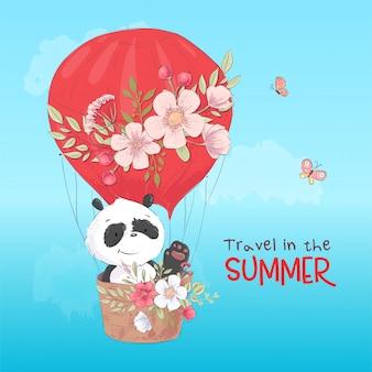 Prentbriefkaaraffiche van een leuke panda in een ballon met bloemen in beeldverhaalstijl.