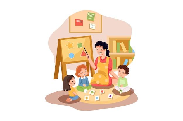 Preschool illustratie concept