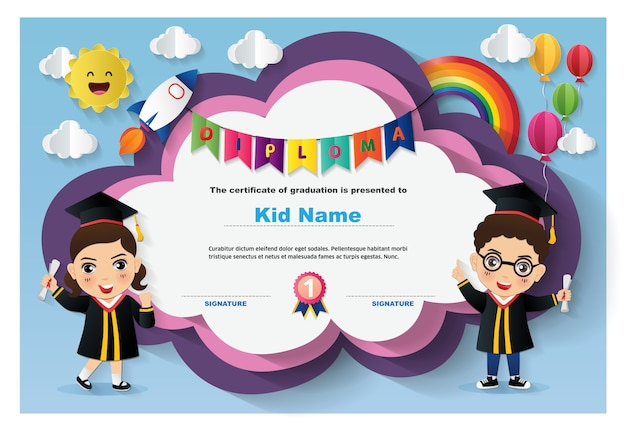 Preschool kinderen diploma certificaatsjabloon