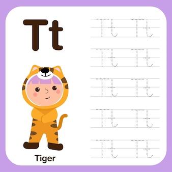 Preschool werkblad voor het oefenen van fijne motoriek met hoofdletters en kalligrafie letter