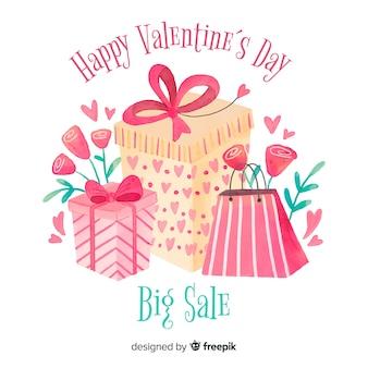 Present en tassen valentijns achtergrond verkoop