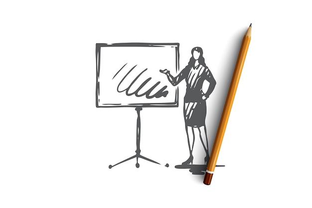 Presentatie bedrijfsconcept. bedrijfsvrouw die haar presentatie op bord toont. hand getrokken schets illustratie