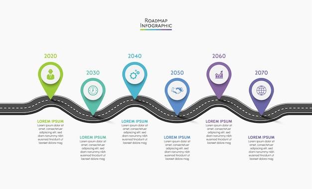 Presentatie business roadmap infographic sjabloon