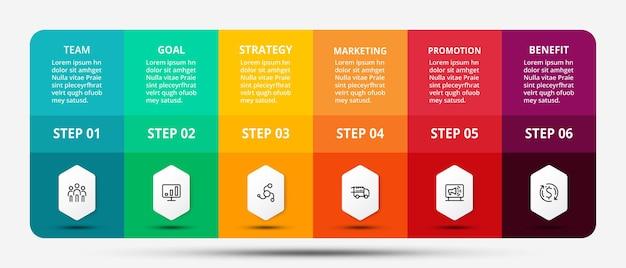 Presentatie door middel van vierkante en rechthoekige ontwerpen helpt de wondplaatsing uit te leggen en informatie te presenteren door middel van een 6-stappen infographic.