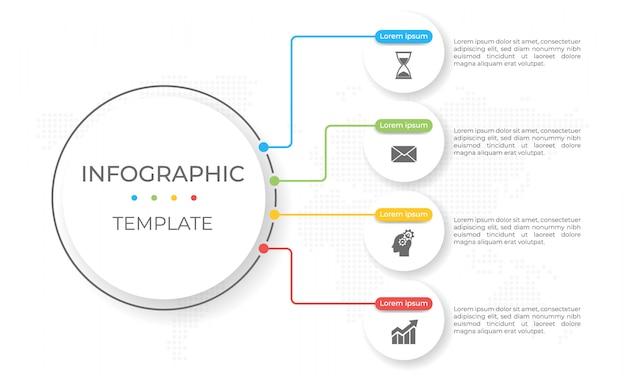 Presentatie infographic sjabloon 4 opties.