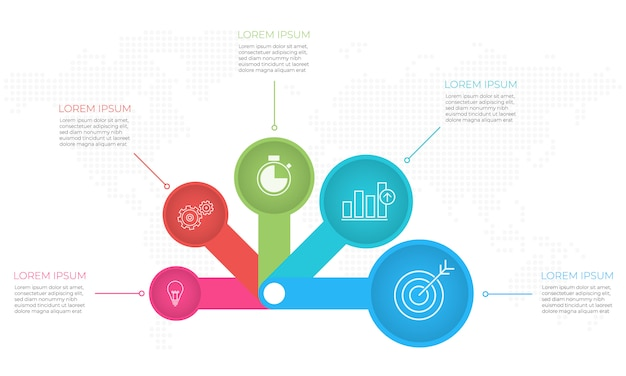 Presentatie infographic sjabloon 5 opties.