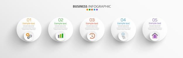 Presentatie infographic sjabloon met 5 opties