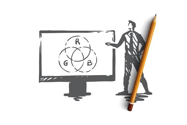 Presentatie, man, bedrijf, bord, luidsprekerconcept. hand getrokken zakenman die een schets van het rapportconcept maakt. illustratie.
