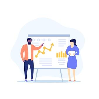 Presentatie met bedrijfsanalyses en mensen
