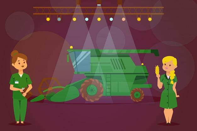 Presentatie nieuwe tractor, maaidorser, landbouwmachine, vrouwkarakter demonstratievrachtwagen, vlakke illustratie.