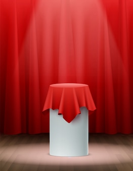 Presentatie rode zijden doek op het podium realistisch
