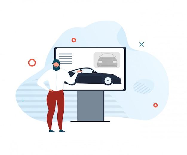 Presentatie van de illustratie van de nieuwe modelauto moderne showroom