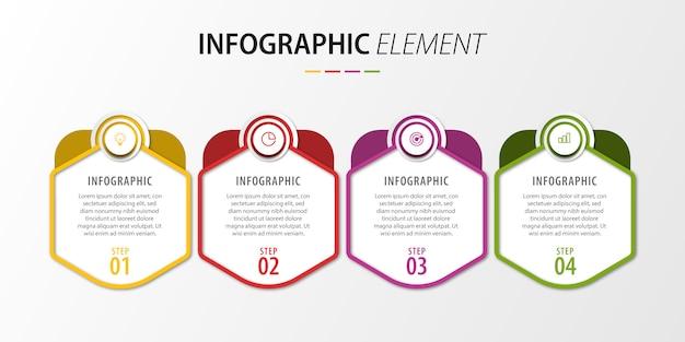 Presentatie van infographic stappen