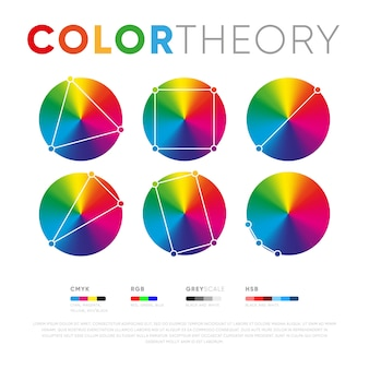 Presentatie van kleurenrelatie in set