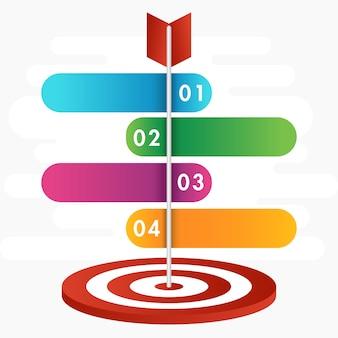 Presentatie van target infographic met stappen voor bedrijfsconcept.