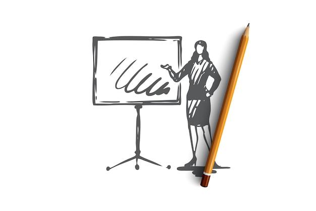 Presentatie, vrouw, bord, grafisch, baanconcept. hand getekende vrouwelijke manager rapport concept schets maken. illustratie.