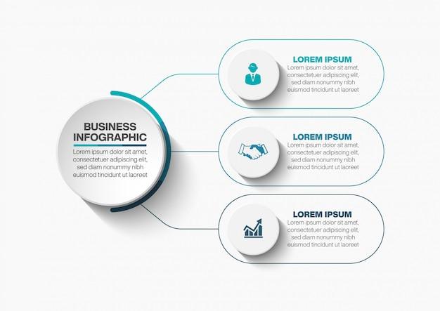 Presentatie zakelijke cirkel infographic sjabloon met 3 opties.
