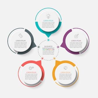 Presentatie zakelijke cirkel infographic sjabloon met 5 opties.