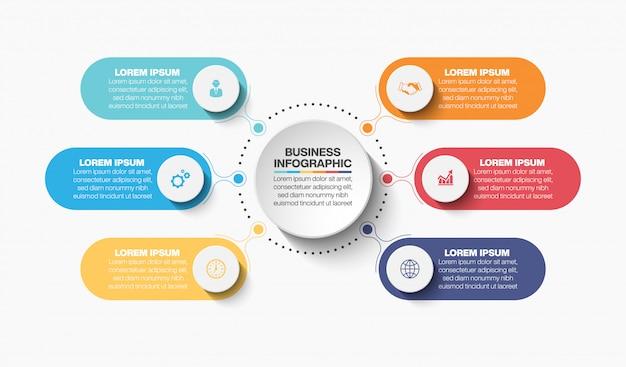 Presentatie zakelijke cirkel infographic sjabloon met 6 opties.