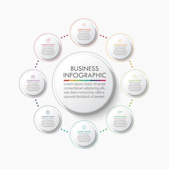 Presentatie zakelijke cirkel infographic sjabloon met opties.