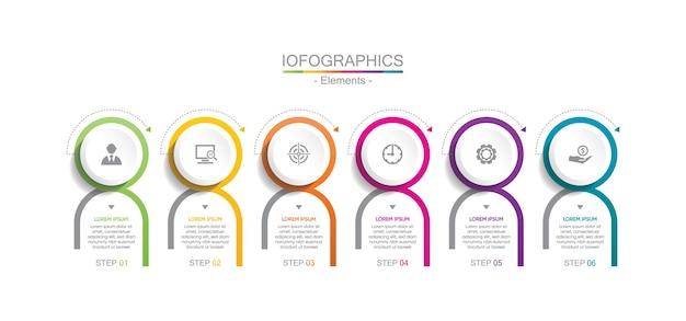 Presentatie zakelijke infographic kleurrijke sjabloon met stappen