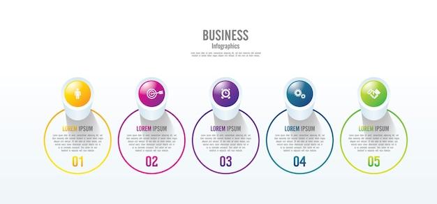 Presentatie zakelijke infographic sjabloon cirkel kleurrijk met 5 stappen