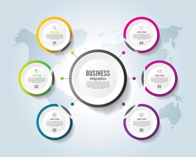 Presentatie zakelijke infographic sjabloon cirkel kleurrijk met 6 stappen