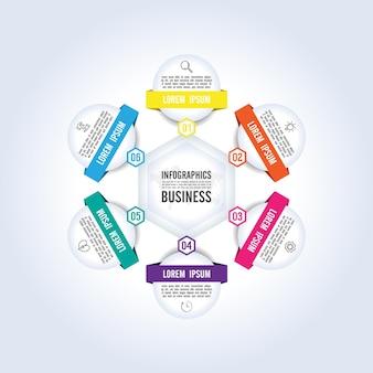 Presentatie zakelijke infographic sjabloon cirkel kleurrijk met zes stappen