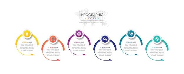 Presentatie zakelijke infographic sjabloon cirkel met stap 6