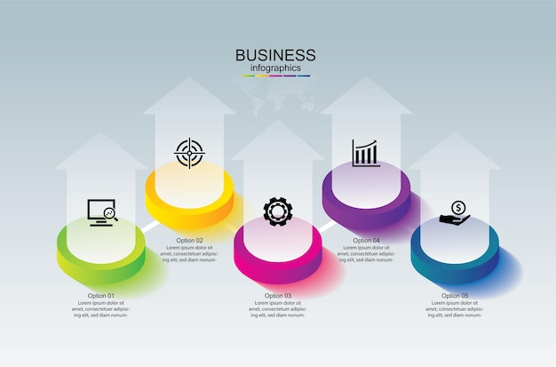 Presentatie zakelijke infographic sjabloon kleurrijk met 5 stappen