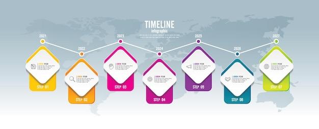 Presentatie zakelijke infographic sjabloon kleurrijk met 7 stappen