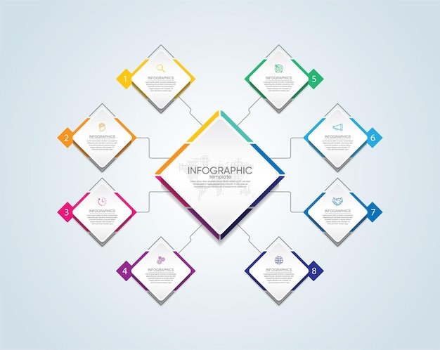 Presentatie zakelijke infographic sjabloon kleurrijk met stappen